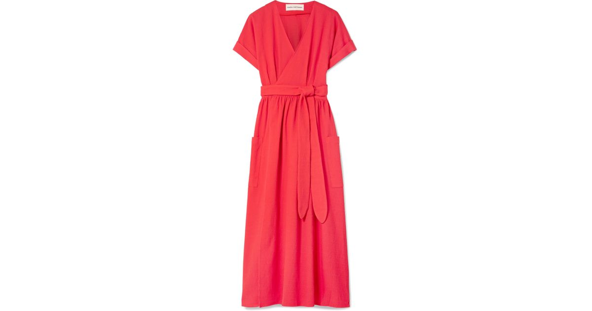 Ingrid Textured-organic Cotton Wrap Dress - Papaya Mara Hoffman rIGSZY
