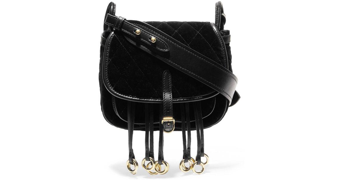 8b2bb8dae7ab Prada Messenger Leather-trimmed Quilted Velvet Shoulder Bag in Black - Lyst