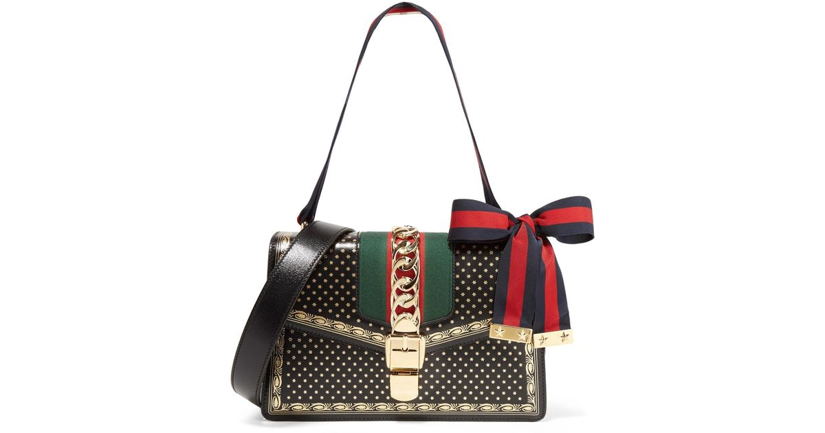 06b07cdc52b Lyst - Gucci Sylvie Small Chain-embellished Printed Leather Shoulder Bag in  Black