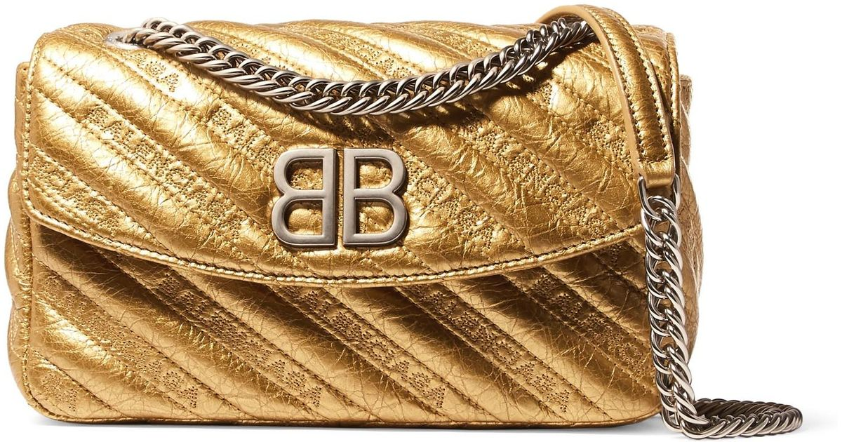 Bb Round Small Embroidered Metallic Textured-leather Shoulder Bag - Gold Balenciaga Pd8287IQ