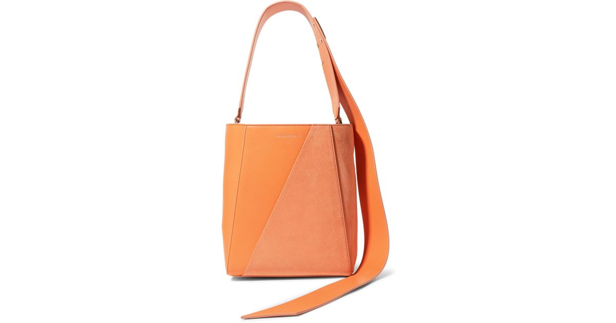 Buck Stripe Small Leather And Suede Shoulder Bag - Orange CALVIN KLEIN 205W39NYC mlbcL