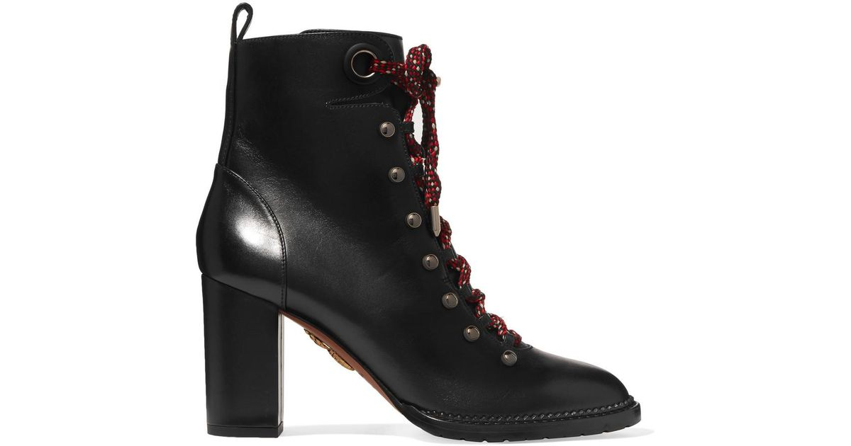f4bfb87c9431a Lyst - Aquazzura Woman Hiker Lace-up Studded Leather Ankle Boots Black in  Black - Save 25%