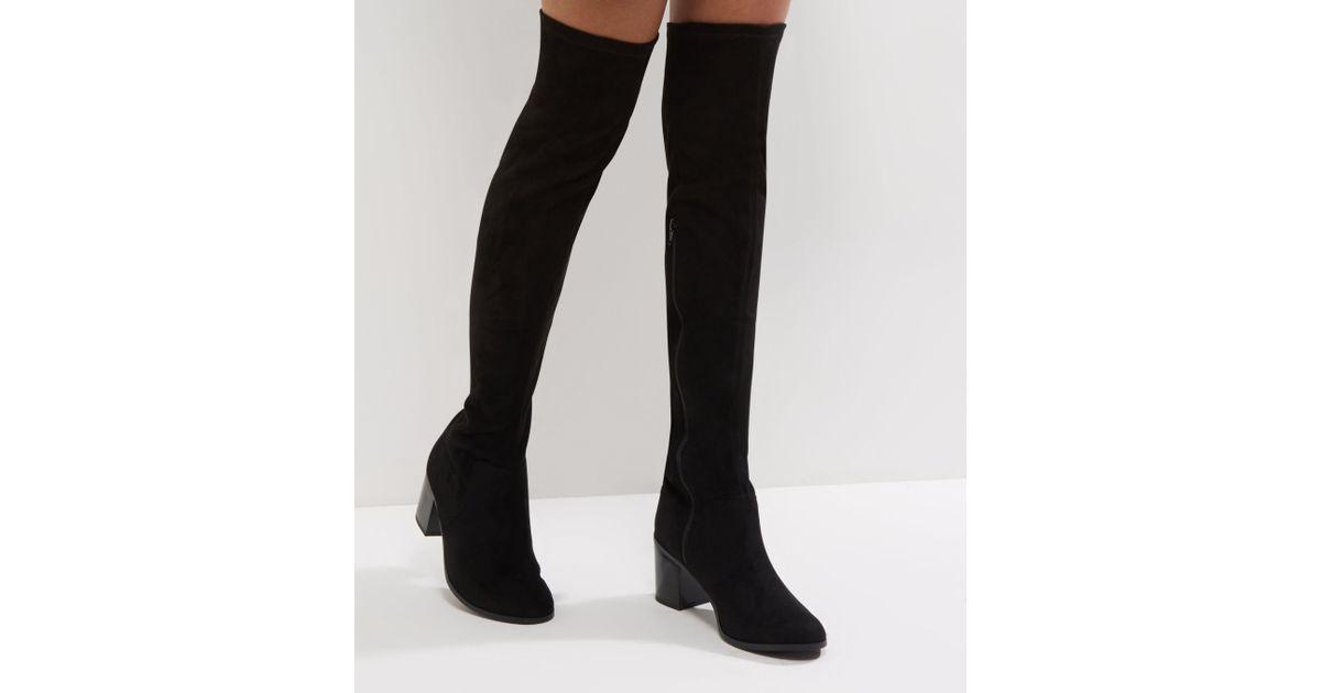d64251c4176e New Look Wide Fit Black Comfort Suedette Block Heel Over The Knee Boots in  Black - Lyst