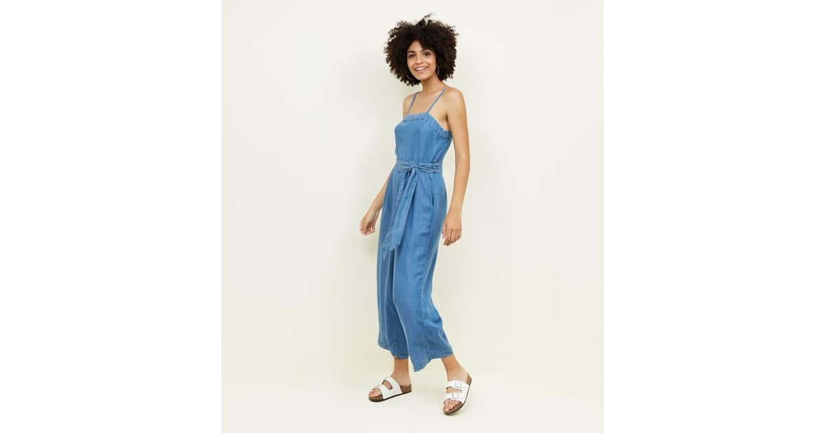 6e2ea30359c2 New Look Blue Square Neck Lightweight Denim Jumpsuit in Blue - Lyst