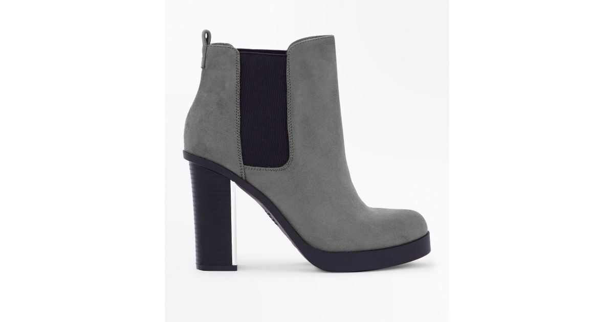 57e609ec2ad6 New Look Wide Fit Grey Suedette Metal Heel Chelsea Boots in Gray - Lyst