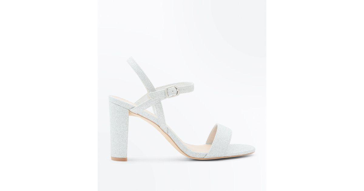 36cd9a536866 Fit I Silver Sandals Glitter Look New Lyst Metallic Wide Heel Block  x4EwCEq7g