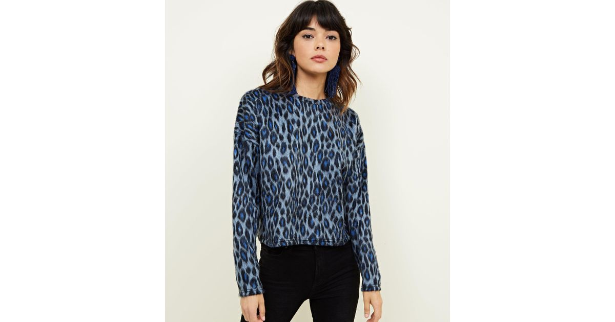 2abf0e5ad7b7 New Look Blue Brushed Fine Knit Leopard Print Top in Blue - Lyst