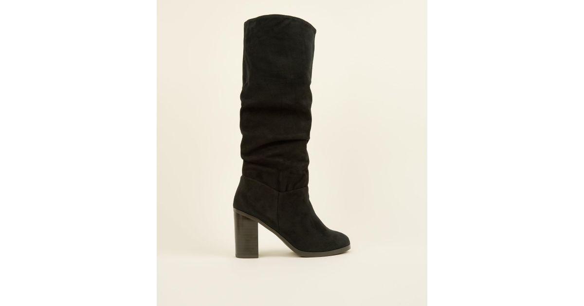 3b193ff3ca7 New Look Black Block Heel Knee High Slouch Boots in Black - Lyst
