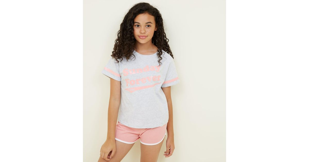 New Look Girls Coral Forever Sunday Slogan Pyjama Set in White - Lyst c8cee0ba7