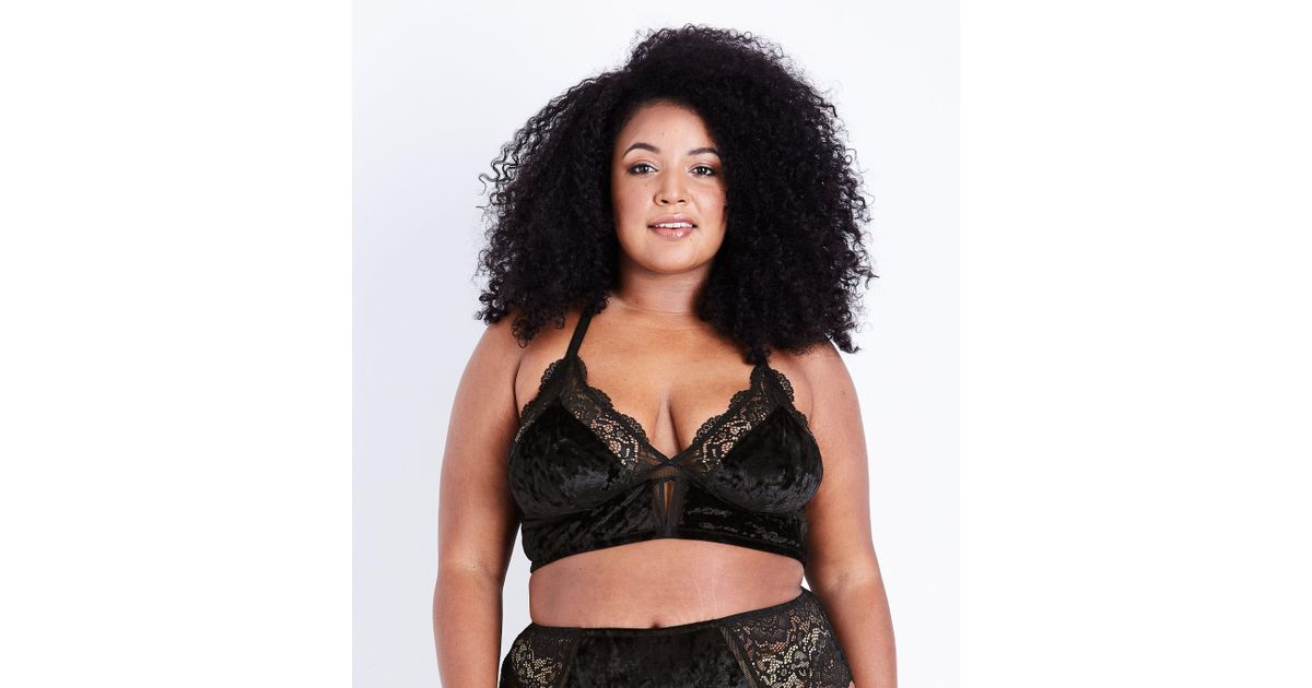 46864fadd006df New Look Curves Black Velvet And Lace Bralette in Black - Lyst