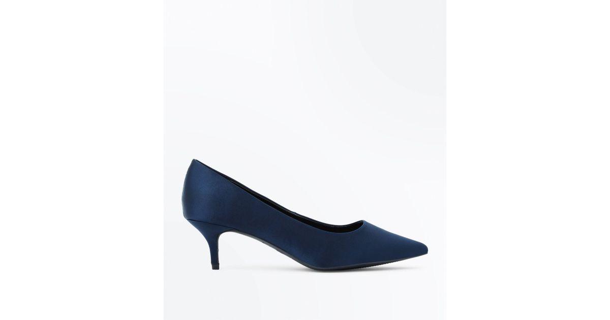 b680b23568e New Look Wide Fit Navy Satin Kitten Heel Court Shoes in Blue - Lyst