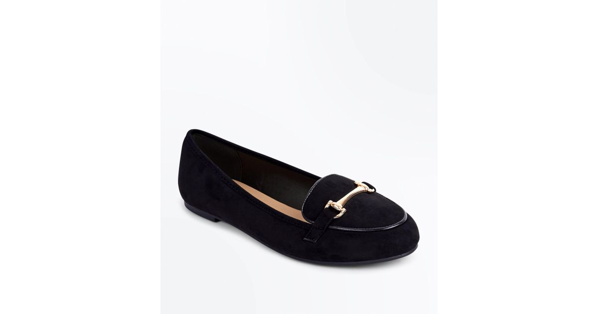 64bba2e9b24e3 New Look Black Suedette Piped Bar Front Loafers in Black - Lyst