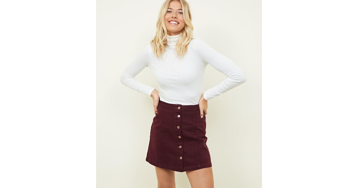 d9d0eb4564b9 New Look Burgundy Button Front A-line Denim Skirt in White - Lyst