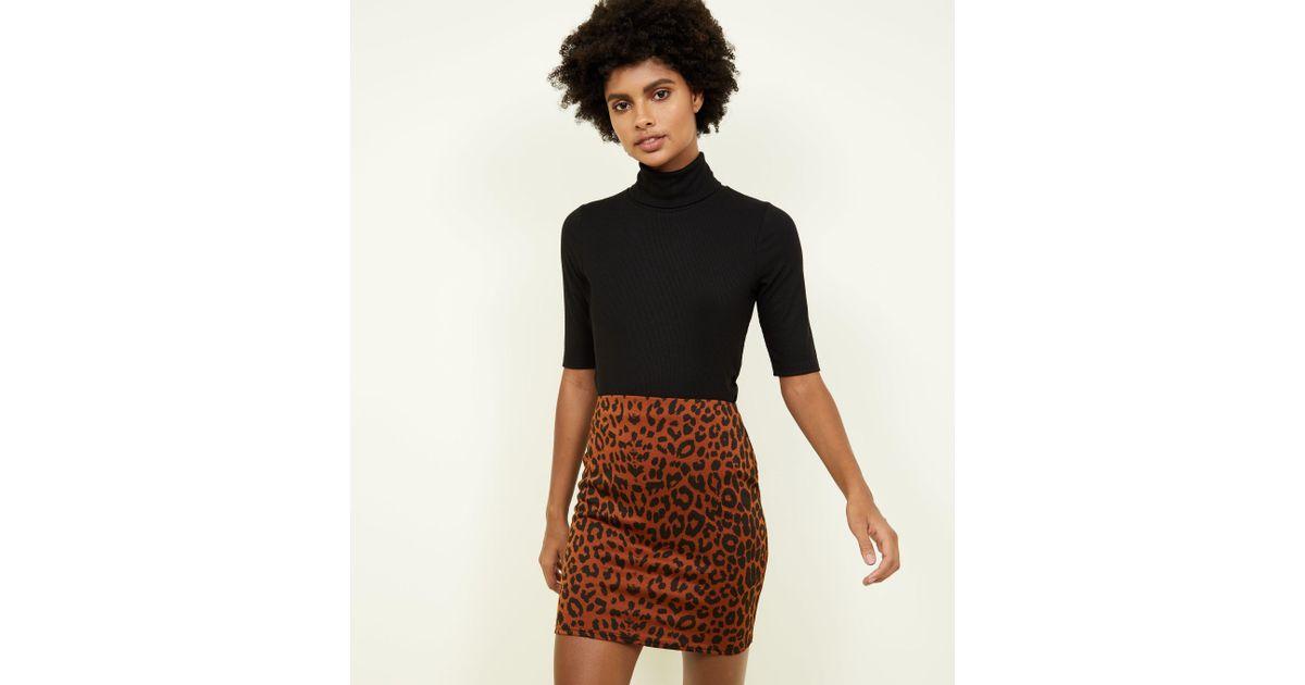 03647ceaf9 New Look Rust Leopard Print Mini Tube Skirt in Black - Lyst