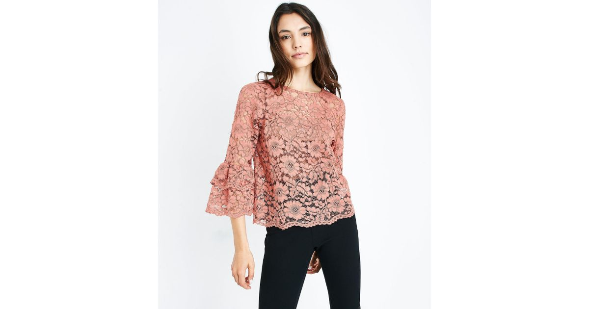 4869dad73266d New Look Pink Floral Lace Tiered Sleeve Top in Pink - Lyst
