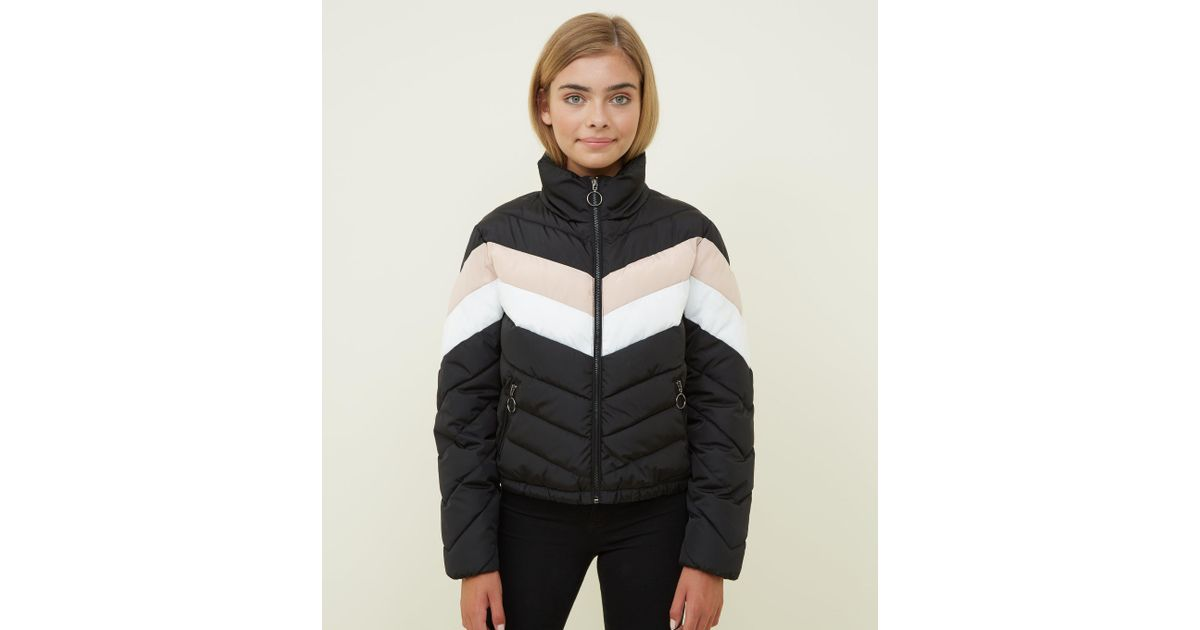 7d7a461c2 New Look Girls Black Colour Block Puffer Jacket in Black - Lyst