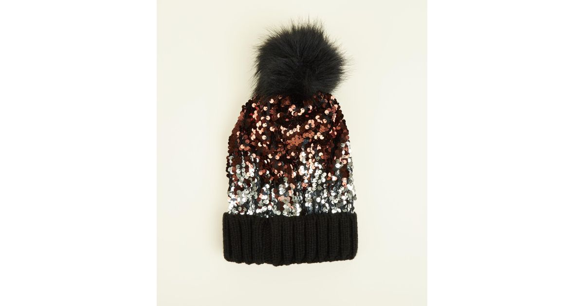 c0f2baecf91 New Look Black Ombré Sequin Bobble Hat in Black - Lyst