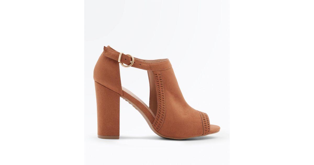 2371638769c5 New Look Tan Comfort Flex Cut Out Peep Toe Heels in Brown - Lyst