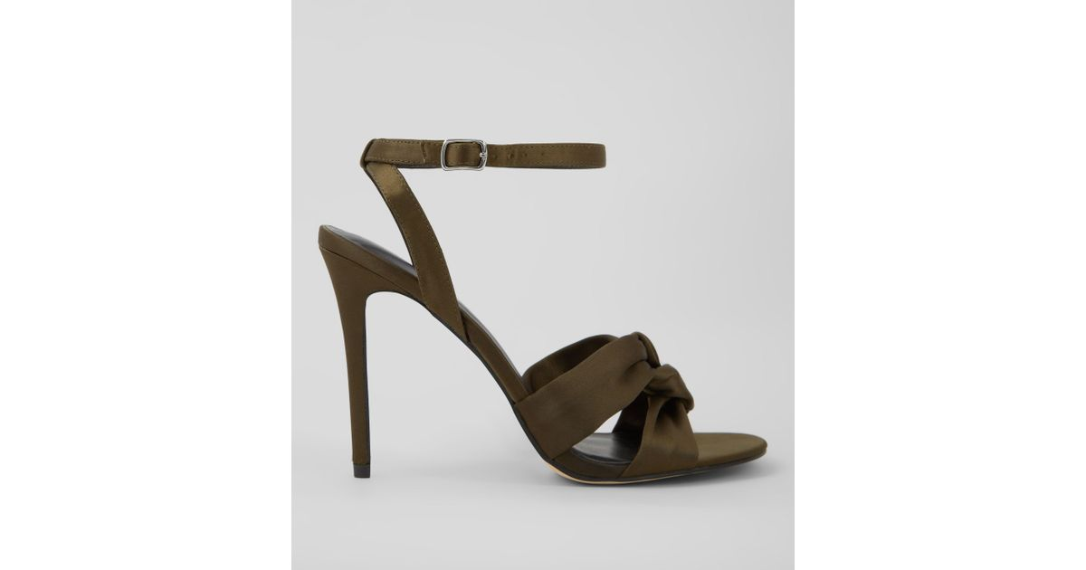 6ff7ce5c3bc5 New Look Khaki Satin Knot Strap Heeled Sandals in Natural - Lyst