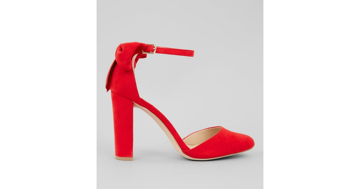 85bb9a836eb5 New Look Red Suedette Bow Back Heels in Red - Lyst