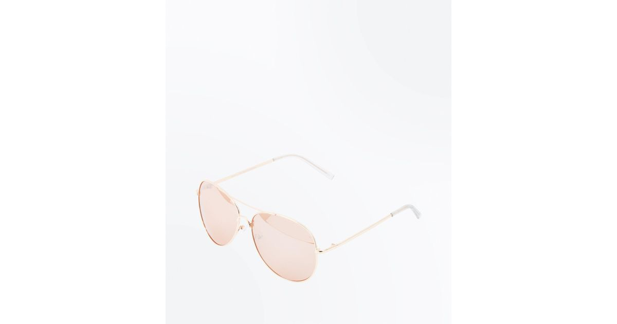4dbbe9783 New Look Rose Gold Mirror Lens Aviator Style Sunglasses in Pink - Lyst