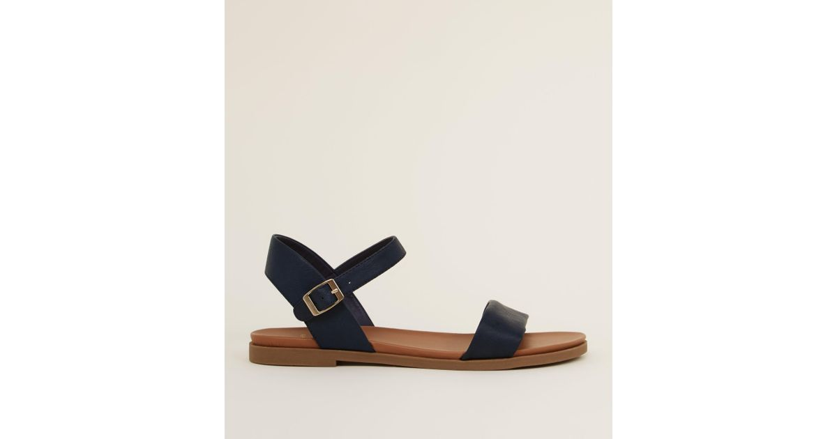 15f02f644 New Look Wide Fit Navy Flat Sandals in Blue - Lyst