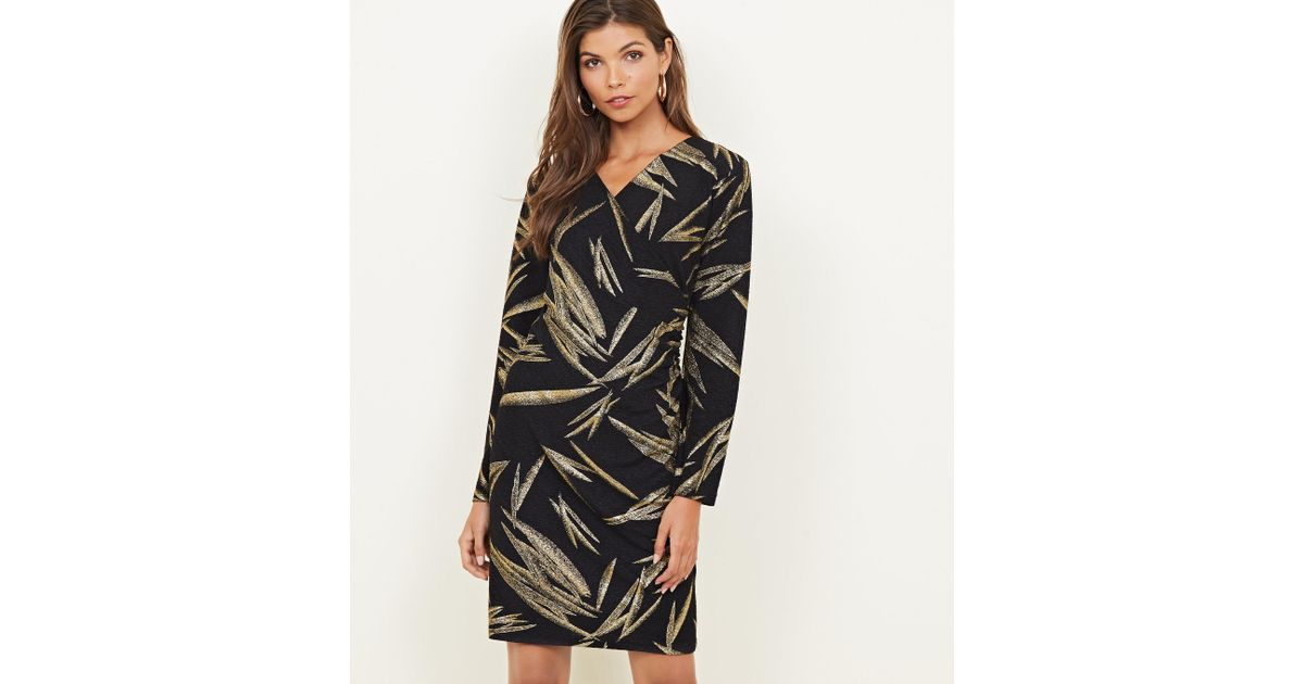 63b8c397 Mela Black Gold Metallic Leaf Print Dress in Black - Lyst