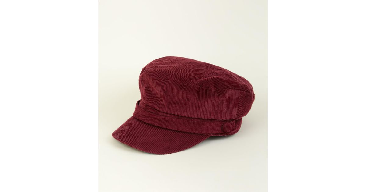 a3870484566 New Look Burgundy Corduroy Military Baker Boy Cap in Red - Lyst