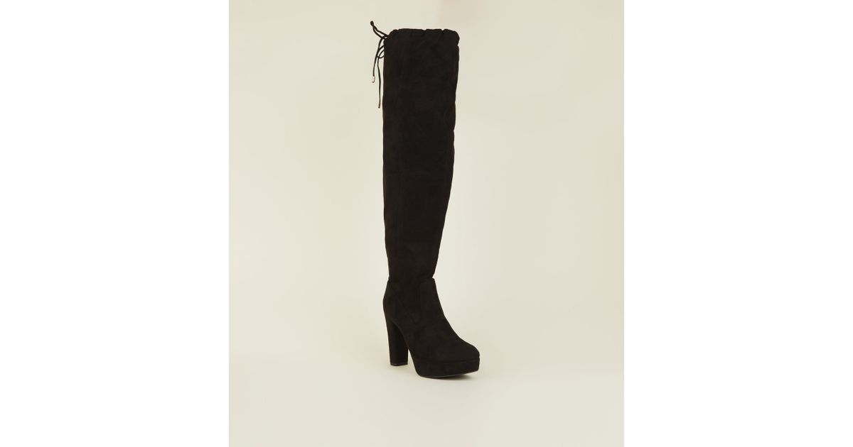 b842dff4d9 New Look Wide Fit Black Suedette Over-the-knee Platform Boots in Black -  Lyst