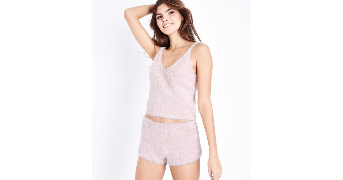 newest style of classic style new release New Look Pink Fluffy Cami And Shorts Pyjama Set