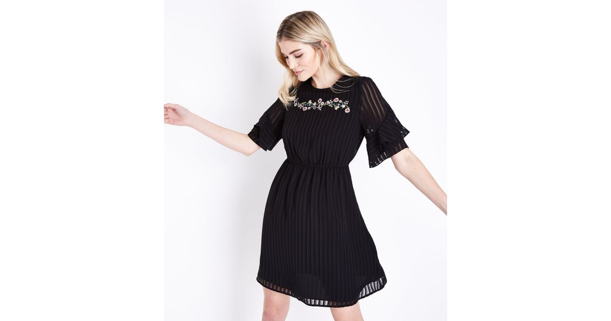 13f8f79da1b New Look Black Embroidered Stripe Chiffon Frill Sleeve Dress in Black - Lyst