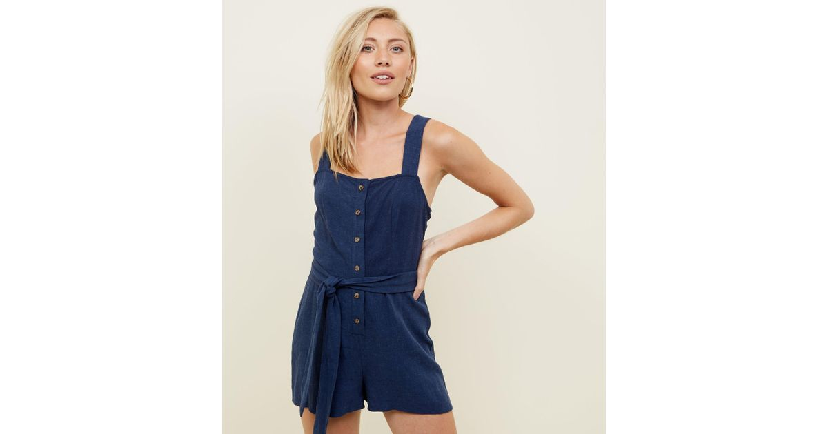 2da07345bc5f New Look Petite Navy Linen-look Button Through Playsuit in Blue - Lyst