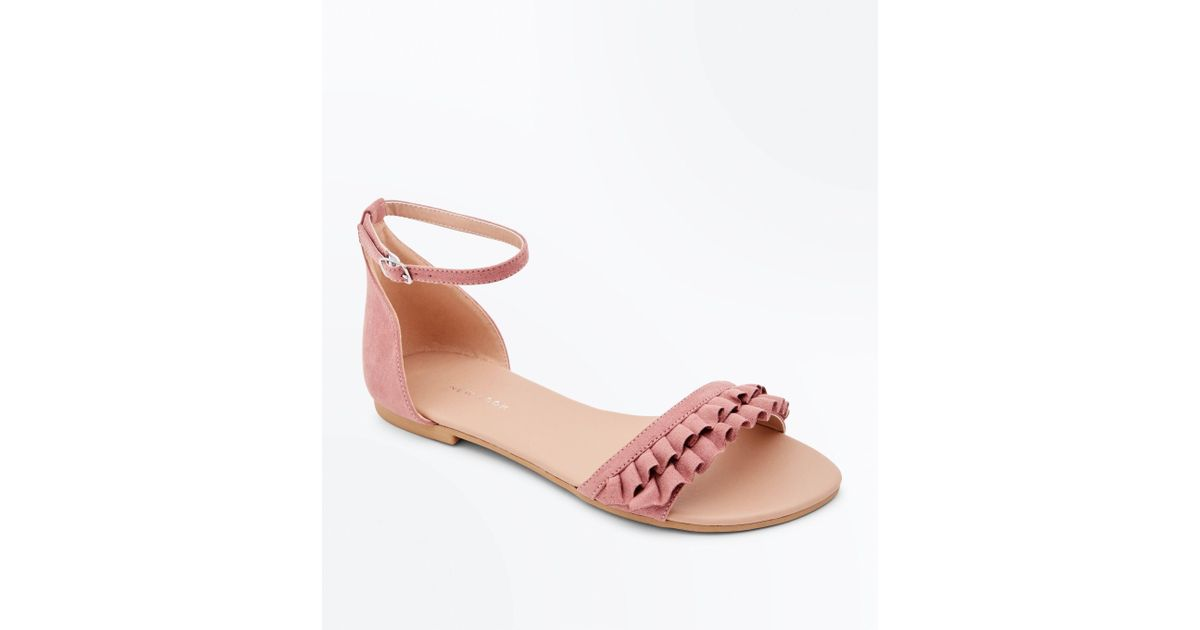 6135dda73ed New Look Wide Fit Pink Suedette Frill Strap Flat Sandals in Pink - Lyst