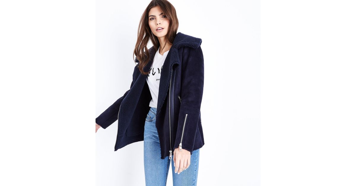 ec72c08ea6e2c New Look Navy Faux Shearling Aviator Jacket in Blue - Lyst
