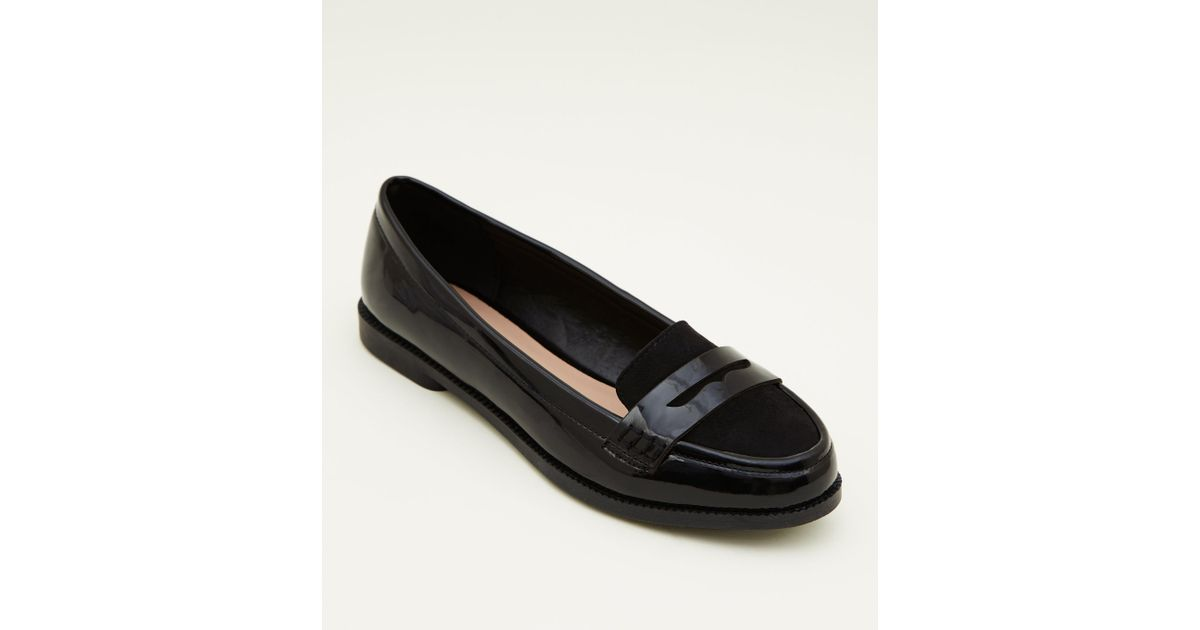 9ab2cbc310c3 New Look Girls Black Patent Suedette Trim Loafers in Black - Lyst