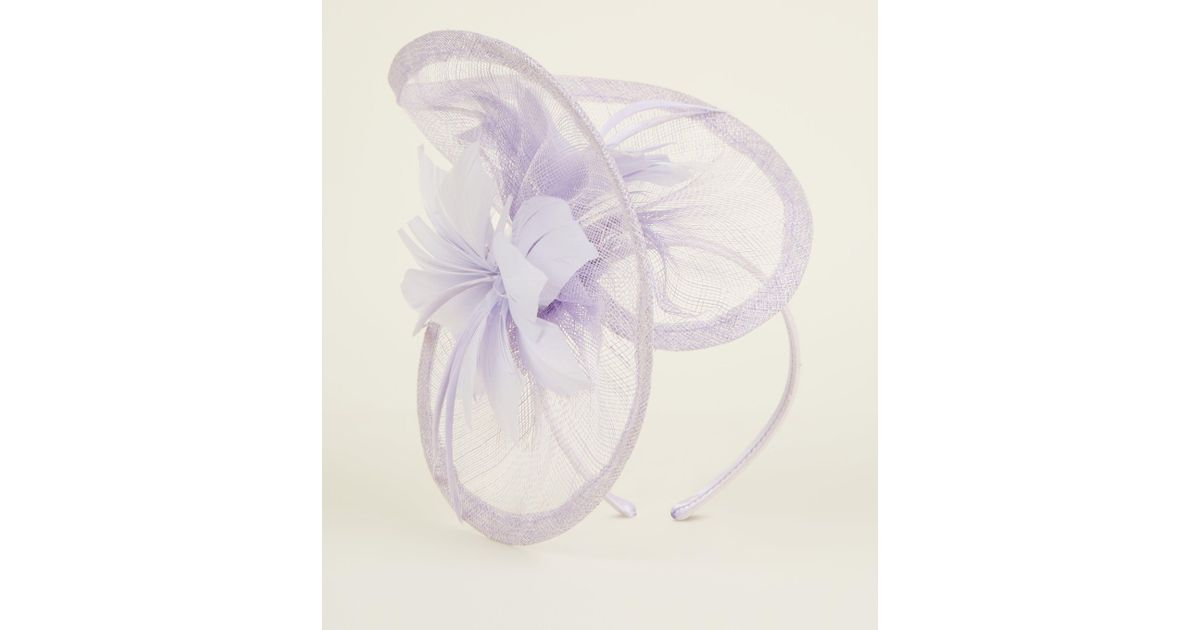 e2d48c5118201 New Look Lilac Mesh Feather Fascinator Headband in Purple - Lyst