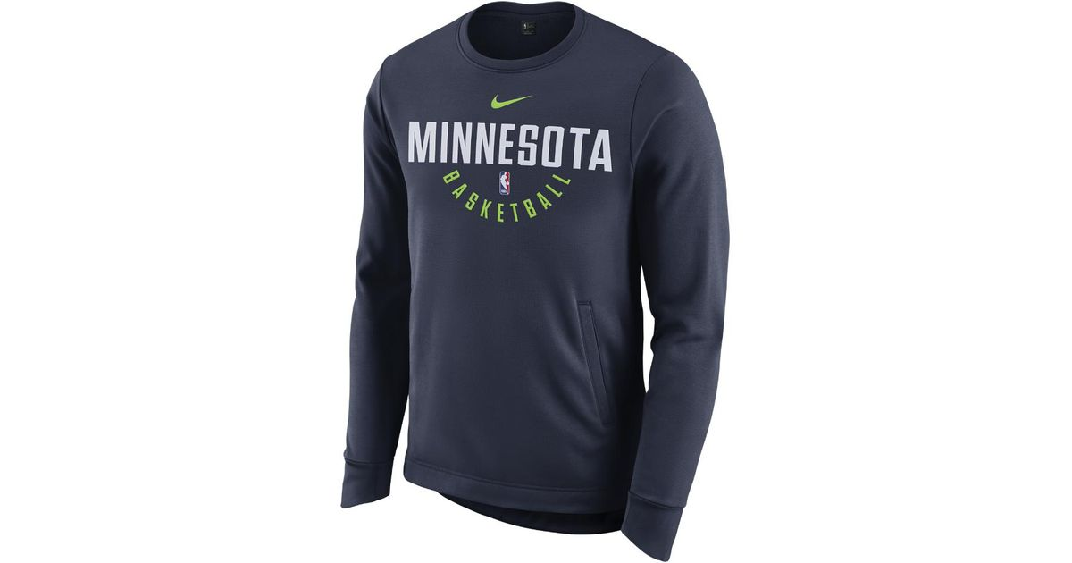 Lyst - Nike Minnesota Timberwolves Therma Men s Long Sleeve Nba Crew in  Blue for Men a76801888