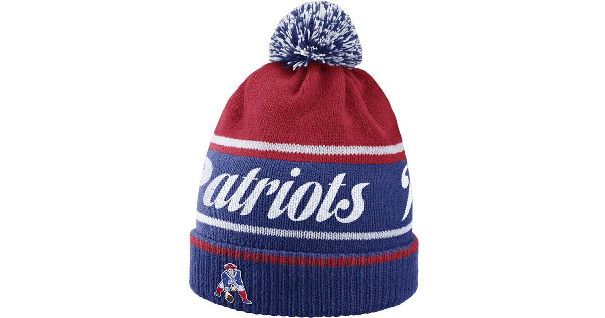 san francisco f1586 49188 ... coupon for lyst nike historic nfl patriots knit hat blue in red for men  2a387 fd46f