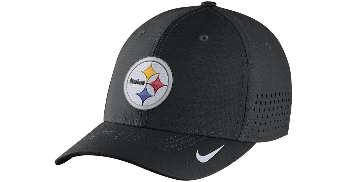 the latest f24eb 0c460 ... greece lyst nike swoosh flex nfl steelers fitted hat in black for men  6b3ed 81935