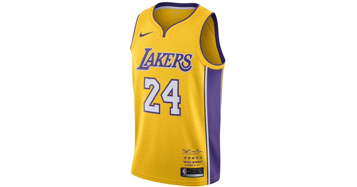 265ef025114 Nike Kobe Bryant Icon Edition Swingman Jersey (los Angeles Lakers) Men s  Nba Connected Jersey in Yellow for Men - Lyst