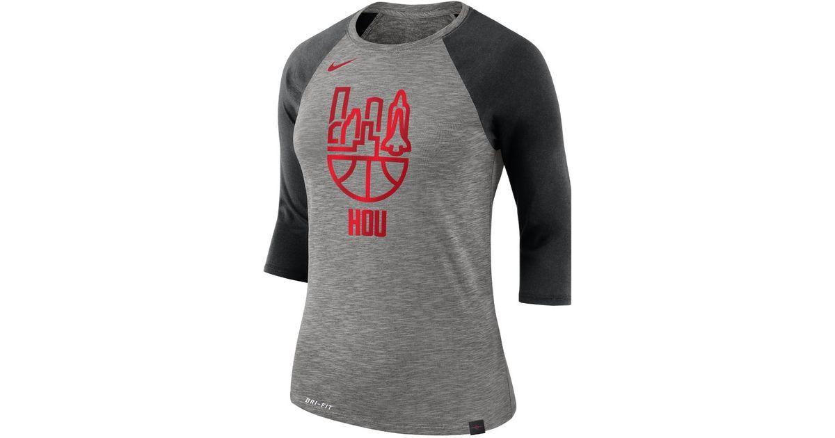 77a5f492 Nike Houston Rockets Dry Women's 3/4 Sleeve Nba T-shirt in Gray - Lyst