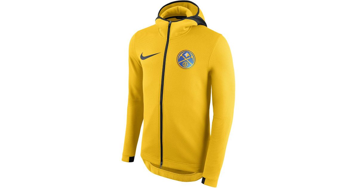 reputable site ec004 5019f Nike Denver Nuggets Therma Flex Showtime Men s Nba Hoodie in Yellow for Men  - Lyst