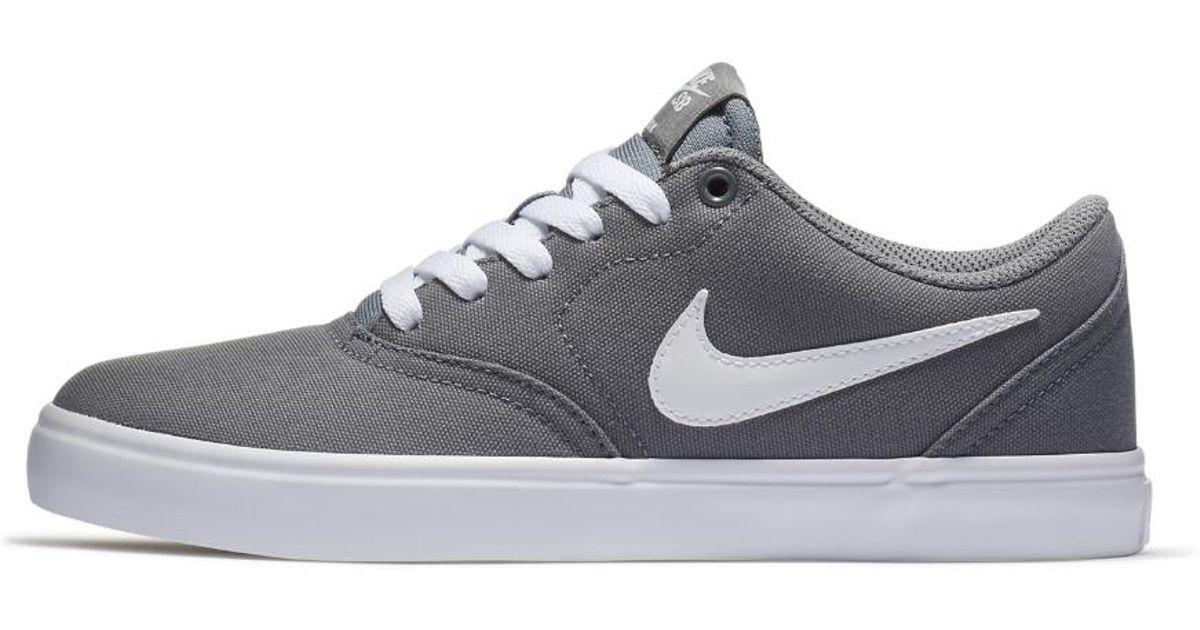 e41cd0662f11 Lyst - Nike Sb Check Solarsoft Canvas Women s Skateboarding Shoe in Gray