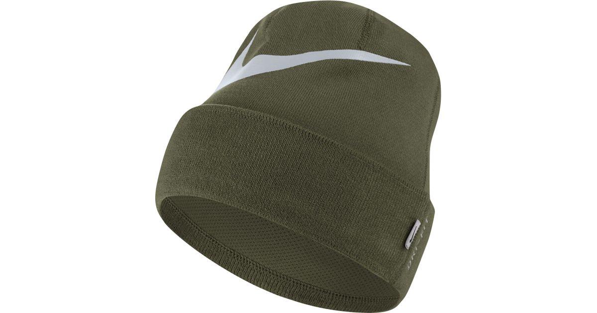 deb25701b00 Nike Swoosh Cuffed Training Knit Hat in Green - Lyst