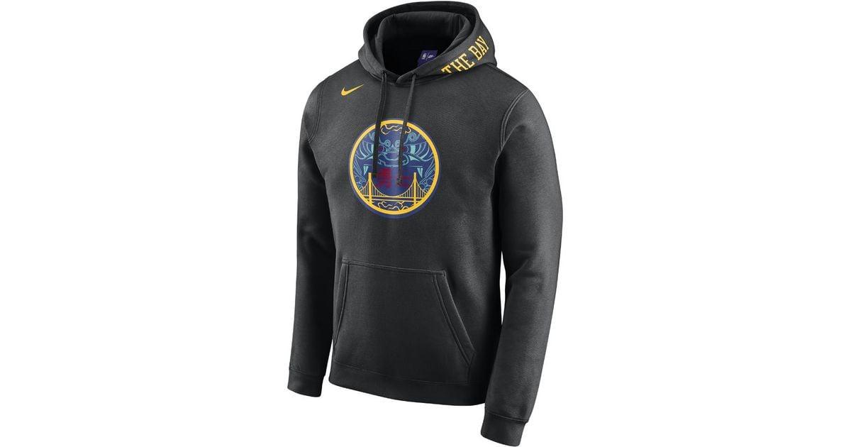 105214258 Lyst - Nike Golden State Warriors City Edition Men s Nba Hoodie in Black  for Men