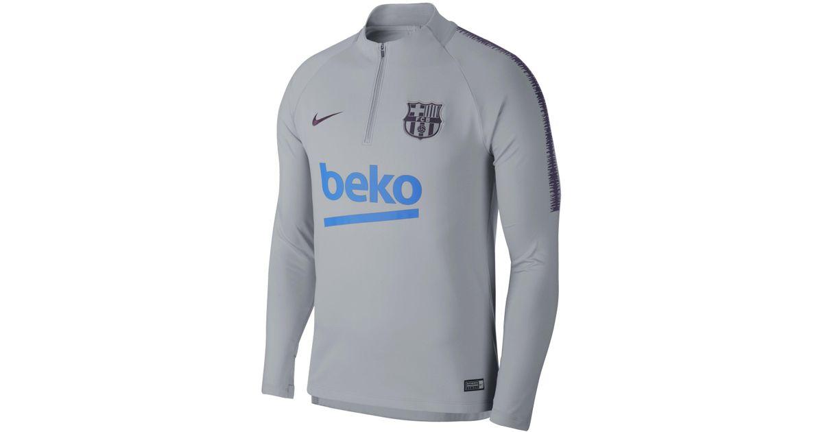e8ea086ec Nike Fc Barcelona Dri-fit Squad Drill Long-sleeve Football Top in Gray for  Men - Lyst