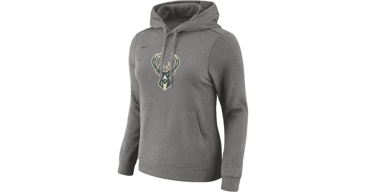 Lyst - Nike Milwaukee Bucks Women s Fleece Nba Hoodie in Gray 033d52783