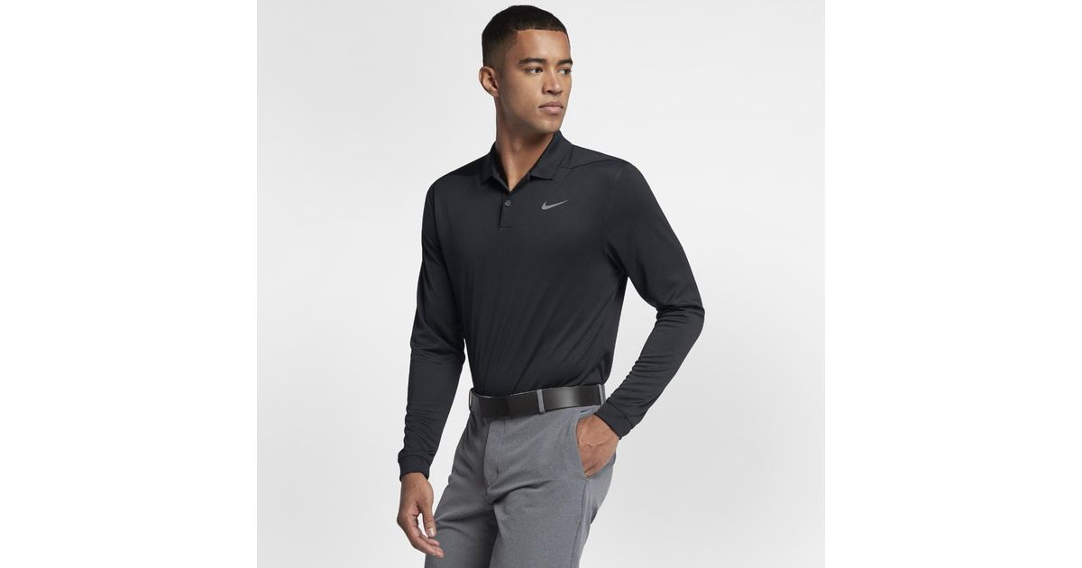 a9301f95b Lyst - Nike Dry Victory Men's Long Sleeve Standard Fit Golf Polo Shirt in  Black for Men