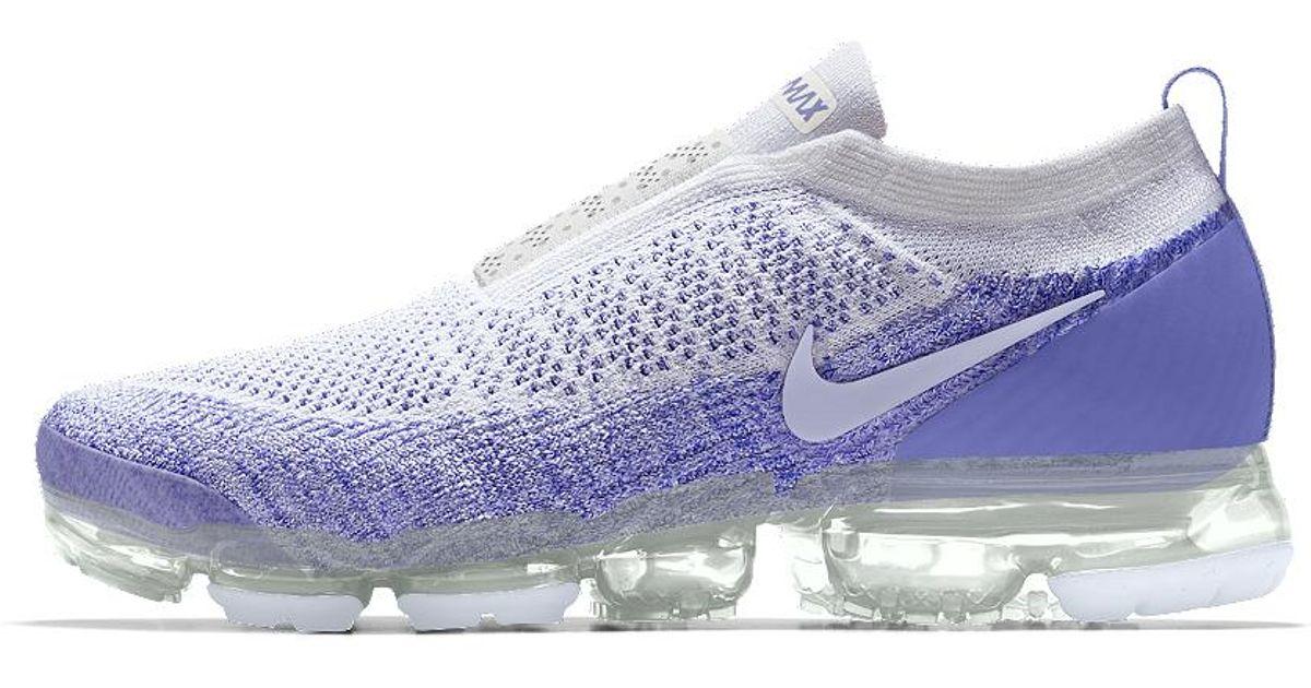 8f911fdc6b28 nike vapormax flyknit moc 2 id Lyst - Nike Air Vapormax Flyknit Moc 2 Id  Women s Running Shoe in Blue