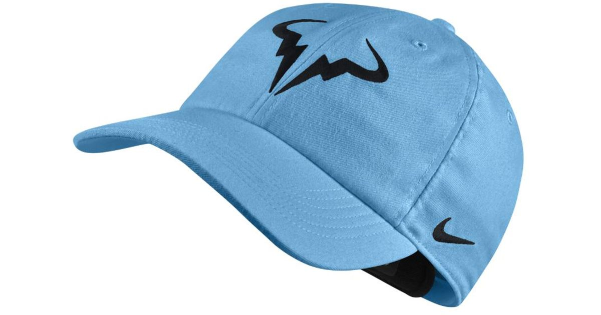 low cost lyst nike court aerobill h86 rafael nadal adjustable tennis hat  blue in blue for c46ea77d3fd